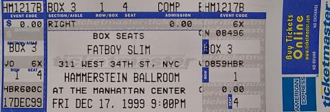 Fatboy Slim Vintage Ticket