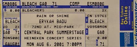 Erykah Badu Vintage Ticket