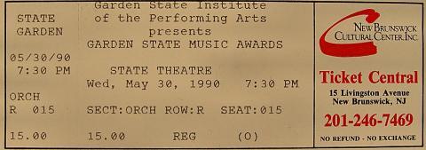 Garden State Music Awards Vintage Ticket