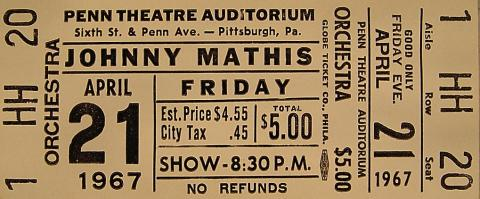 Johnny Mathis Vintage Ticket