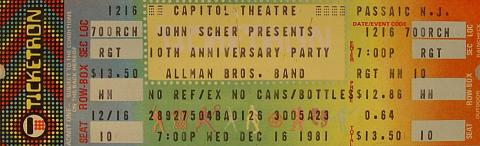 Capitol Theatre 10th Anniversary Party Vintage Ticket