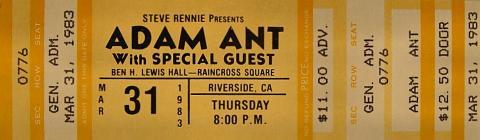 Adam Ant Vintage Ticket