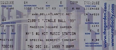 Z100's Jingle Ball 99 Vintage Ticket