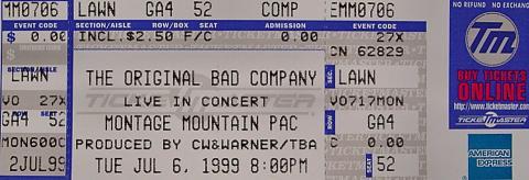 The Original Bad Company Vintage Ticket