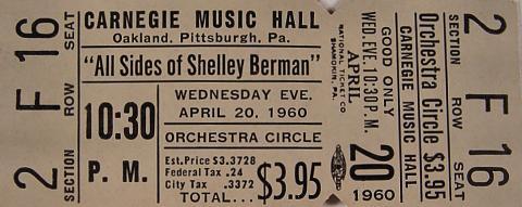 Shelley Berman Vintage Ticket