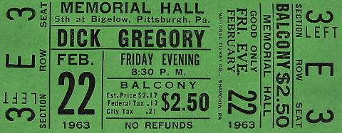 Dick Gregory Vintage Ticket