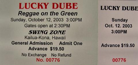 Lucky Dube Vintage Ticket