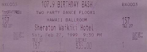 107.9 Birthday Bash Vintage Ticket