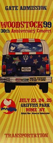 Woodstock Music Festival 99 Vintage Ticket