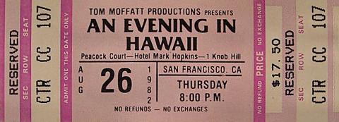 An Evening In Hawaii Vintage Ticket