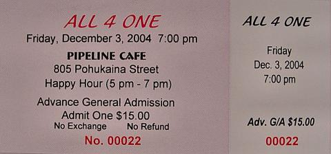 All-4-One Vintage Ticket