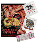 Guns N' Roses/Metallica Poster/Pellon/Ticket Set