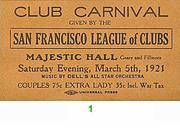 San Francisco League of Clubs Vintage Ticket