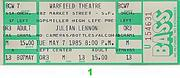Julian Lennon Vintage Ticket