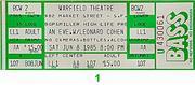 Leonard Cohen Vintage Ticket