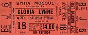 Gloria Lynne Vintage Ticket
