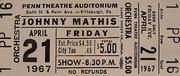 Johnny Mathis Vintage Ticket