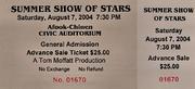 Summer Show Of Stars Vintage Ticket