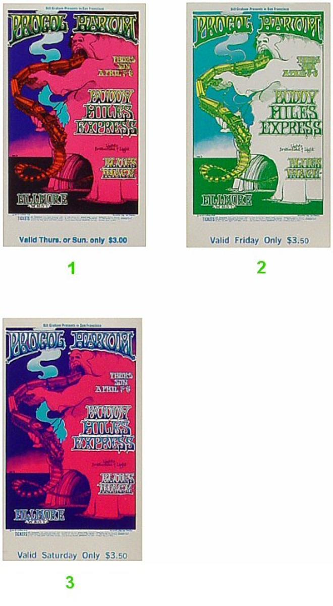 Procol Harum Vintage Concert Vintage Ticket From Fillmore
