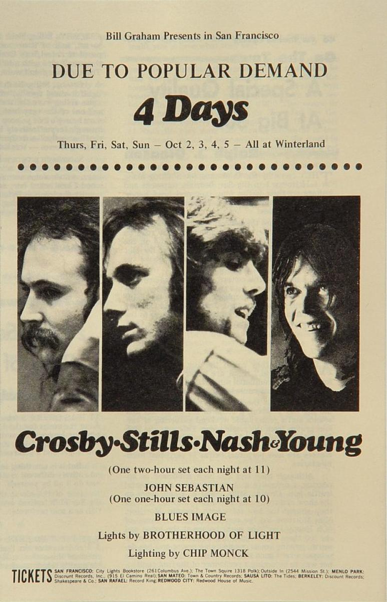 Crosby Stills Nash Amp Young Vintage Concert Program From