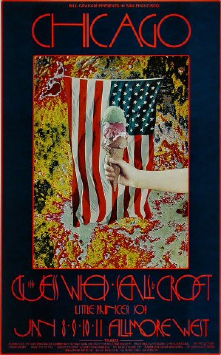 Chicago Vintage Concert Poster From Fillmore West Jan 8