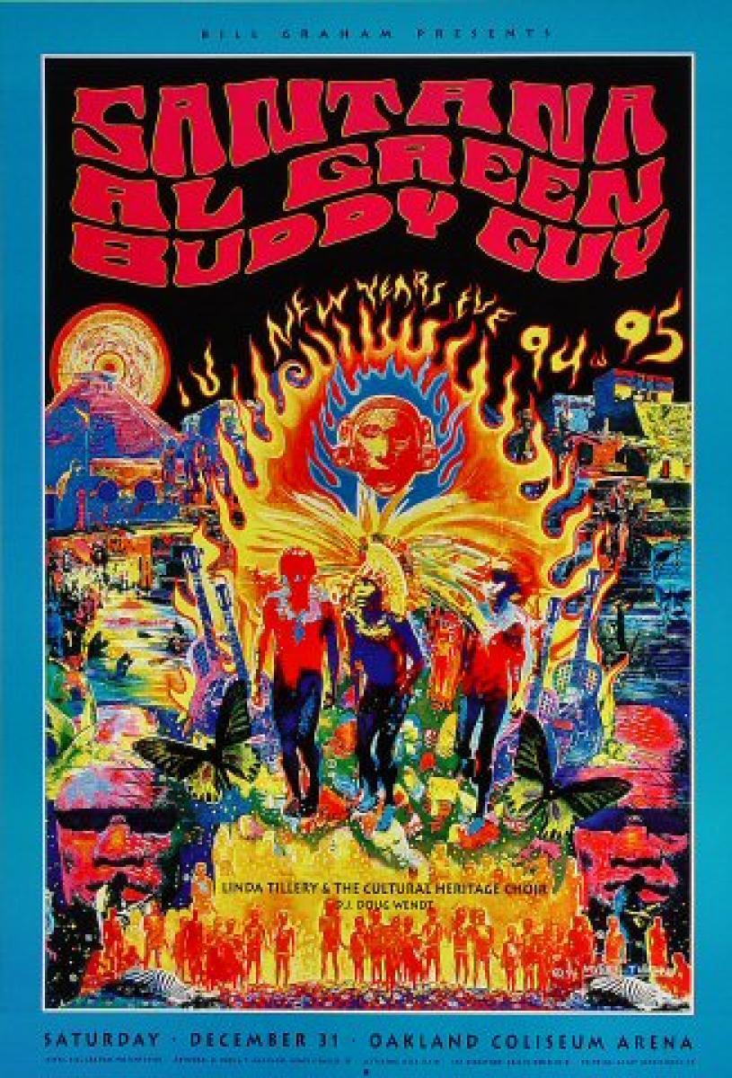Santana Vintage Concert Poster From Oakland Coliseum Arena