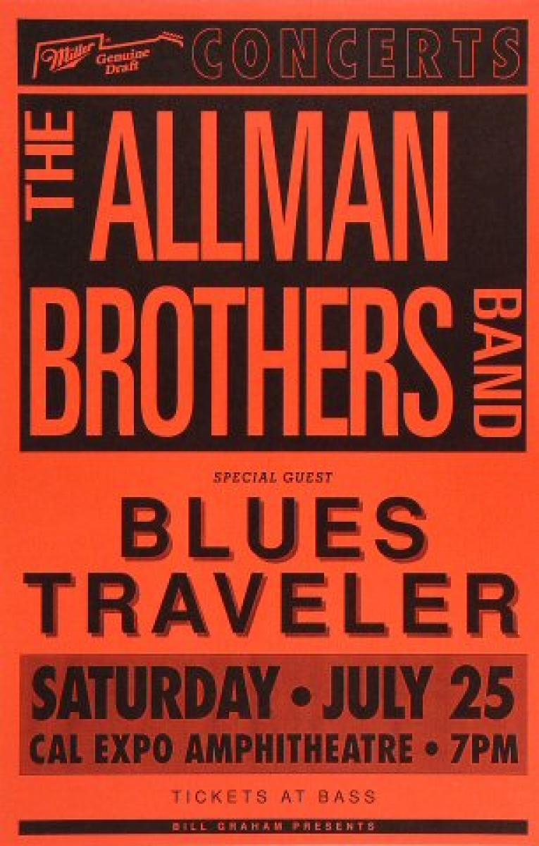 The Allman Brothers Band Vintage Concert Poster From Cal