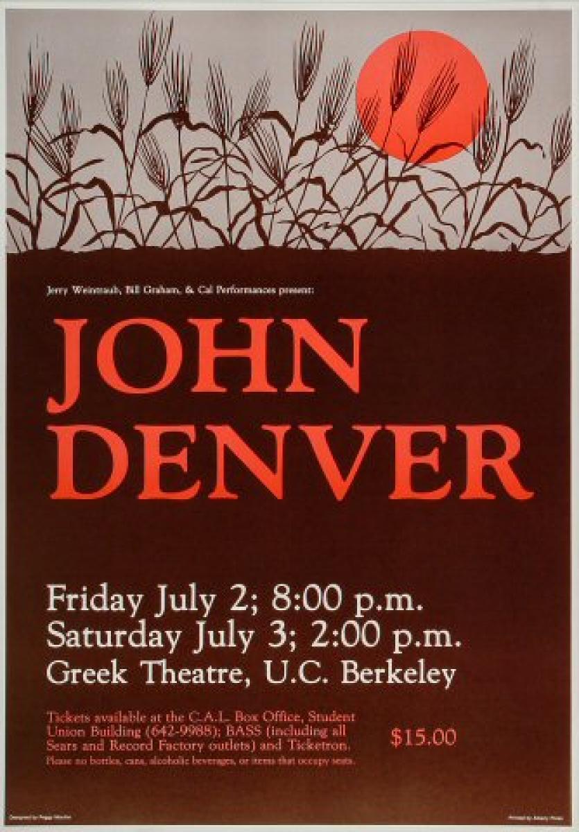 John Denver Vintage Concert Poster From Greek Theatre Jul