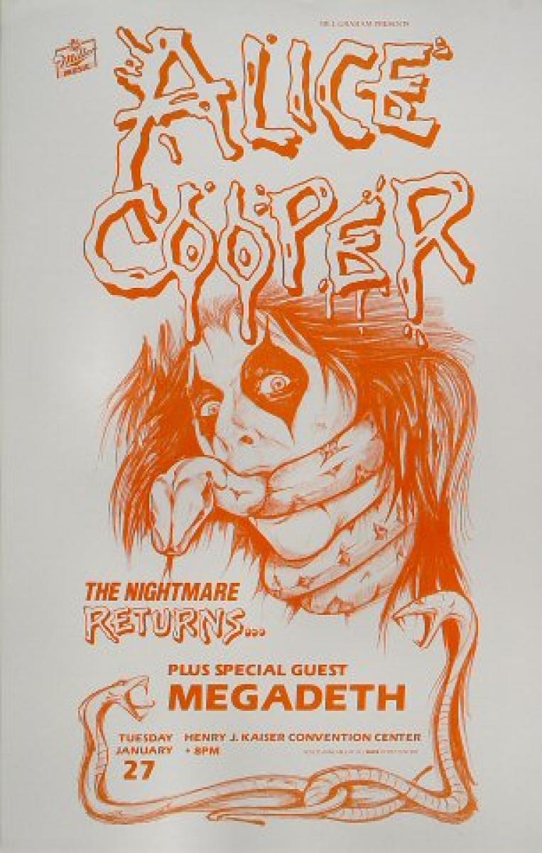 alice cooper vintage concert poster from henry j kaiser auditorium jan 27 1987 at wolfgang 39 s. Black Bedroom Furniture Sets. Home Design Ideas