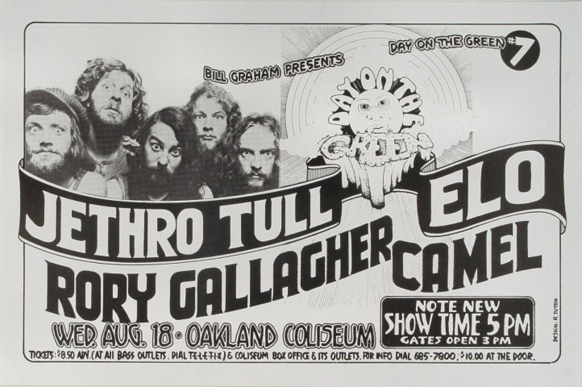 Jethro Tull Vintage Concert Poster From Oakland Coliseum