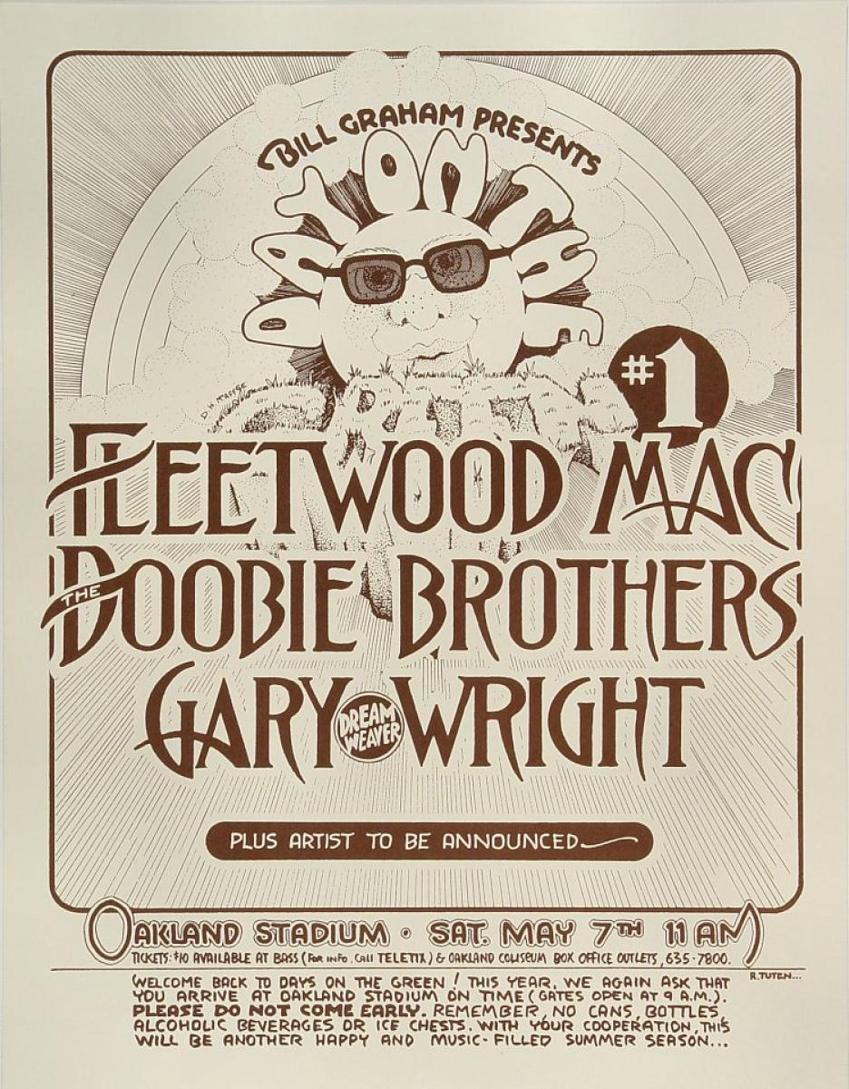 Fleetwood Mac Vintage Concert Poster From Oakland Coliseum