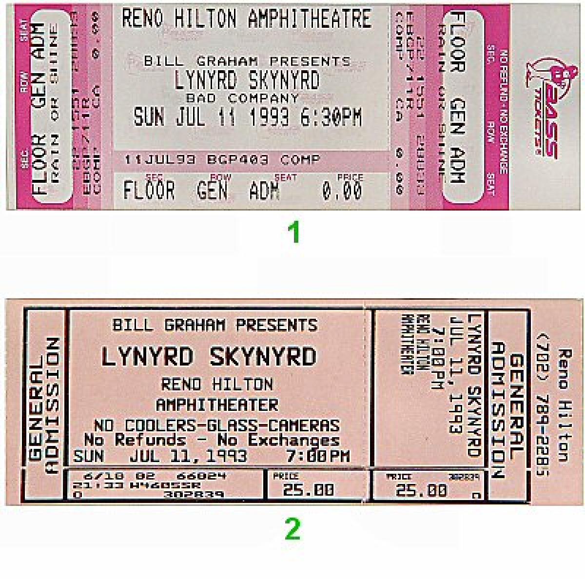 lynyrd skynyrd vintage concert vintage ticket from reno hilton amphitheatre jul 11 1993 at. Black Bedroom Furniture Sets. Home Design Ideas