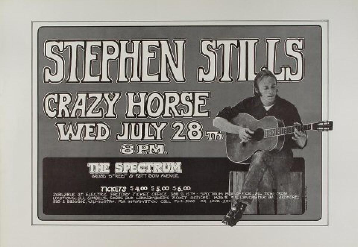 stephen stills vintage concert poster from spectrum jul 28 1971 at wolfgang 39 s. Black Bedroom Furniture Sets. Home Design Ideas