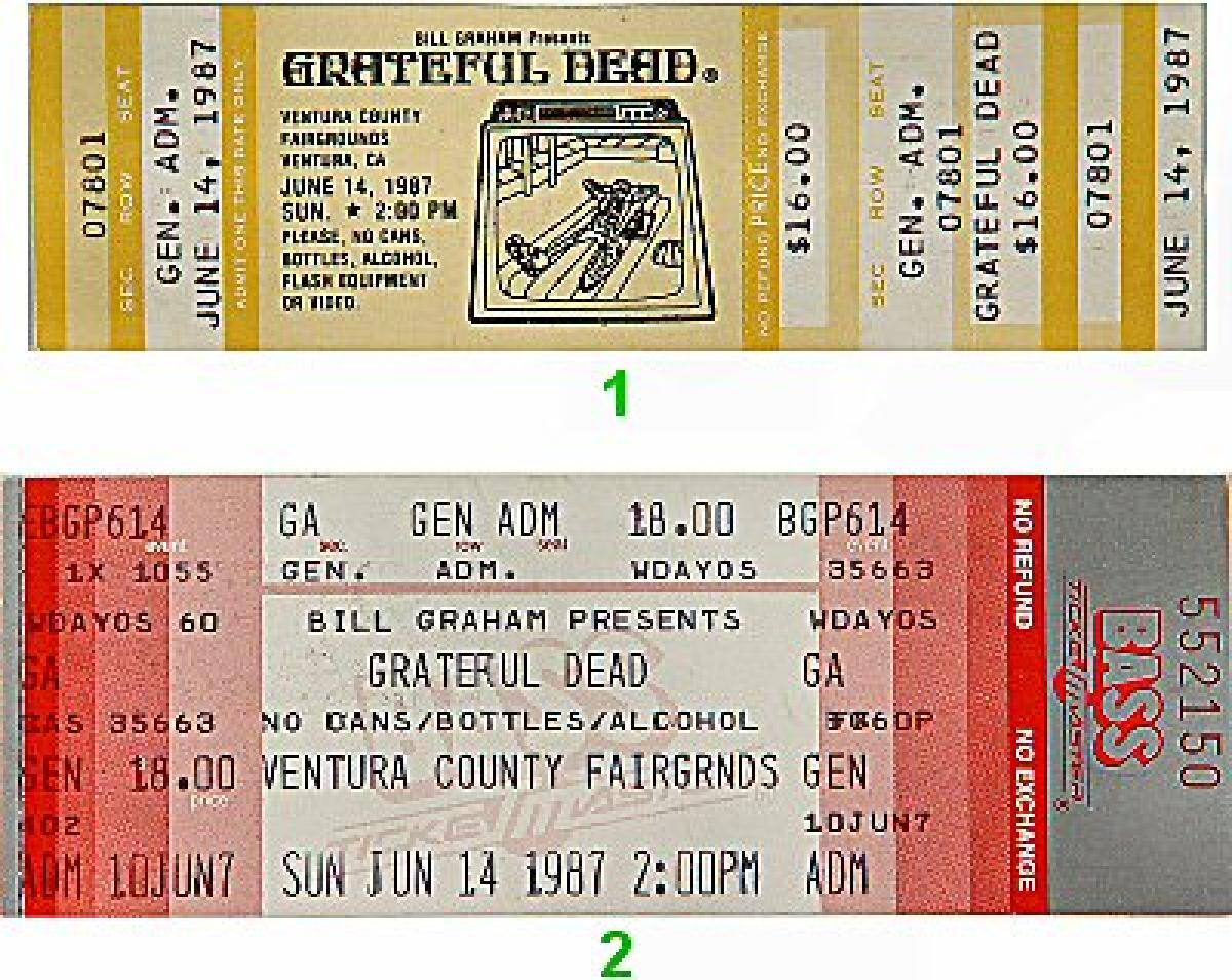 Grateful Dead Vintage Concert Vintage Ticket From Ventura