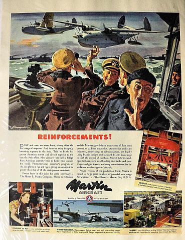 Martin Aircraft: Reinforcements! Vintage Ad