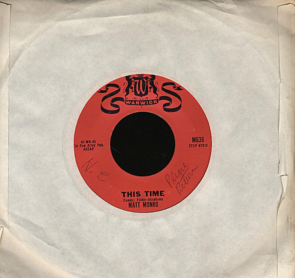 """Matt Monro Vinyl 7"""" (Used)"""