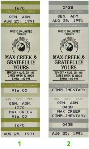 Max Creek Vintage Ticket