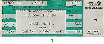 Melissa Etheridge Vintage Ticket