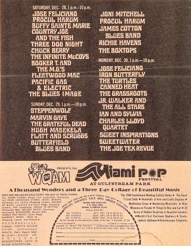 miami pop festival vintage concert handbill from gulfstream park dec 28 1968 at wolfgang 39 s. Black Bedroom Furniture Sets. Home Design Ideas
