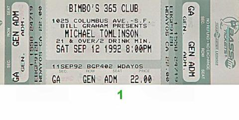 Michael Tomlinson Vintage Ticket
