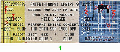 Mick Jagger Vintage Ticket