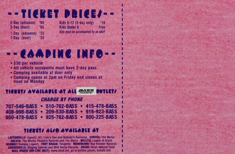 Mickey Hart & Planet Drum Handbill reverse side