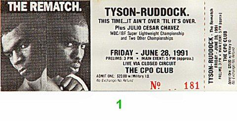 Mike Tyson Vintage Ticket