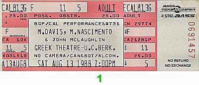 Miles Davis Vintage Ticket
