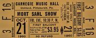 Mort Sahl Show Vintage Ticket
