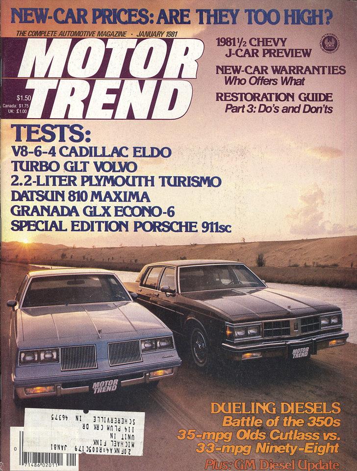 Motor Trend Vol. 33 No. 1 Magazine, Jan 1, 1981 at Wolfgang\'s