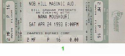 Nana Mouskouri Vintage Ticket