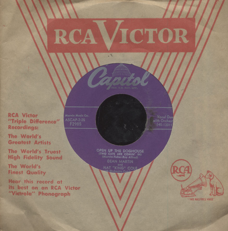 """Nat King Cole and Dean Martin Vinyl 7"""" (Used)"""
