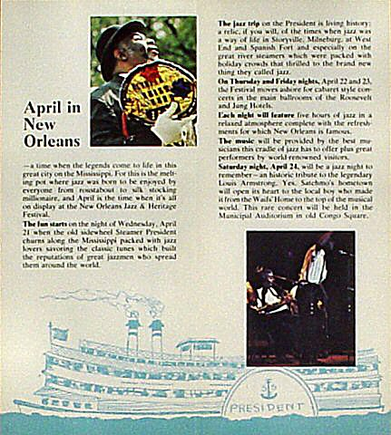 New Orleans Jazz and Heritage Festival Program reverse side