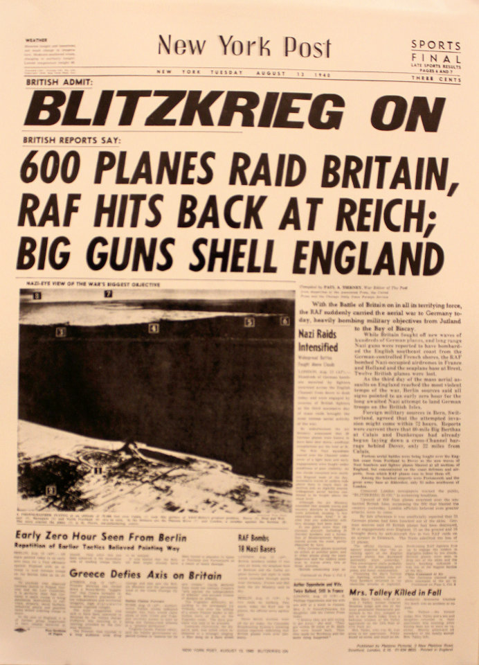 New York Post August 13, 1940 Poster